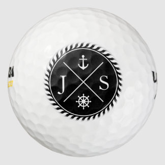 Black and White Nautical Anchor Monogram Golf Balls