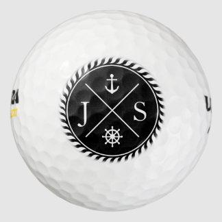 Black and White Nautical Anchor Monogram Pack Of Golf Balls