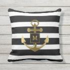 Black and White Nautical Anchor Striped Monogram Throw Pillow