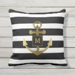 "Black and White Nautical Anchor Striped Monogram Throw Pillow<br><div class=""desc"">Modern, nautical black and white striped monogram pillow- Wide black and white stripes background. Centered is a gold color nautical anchor with a monogram initial in gold color, modern lettering framed within a black and faux metallic gold square. Identical on both sides. Trendy, but classic outdoor decor for a beach...</div>"