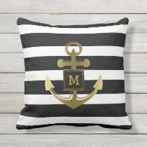 Black and White Nautical Anchor Striped Monogram Throw Pillow