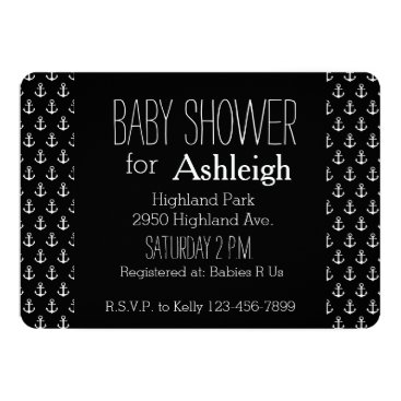 Beach Themed Black and White Nautical Anchors baby shower Card
