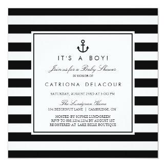 Black and White Nautical Baby Shower Invitation