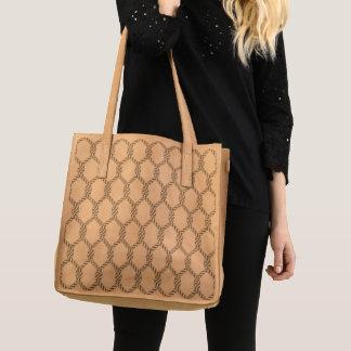 Black And White Nautical Rope Pattern Tote