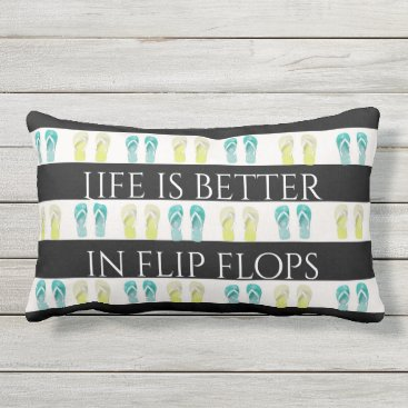 Beach Themed Black and White nautical stripes and flip flops Outdoor Pillow