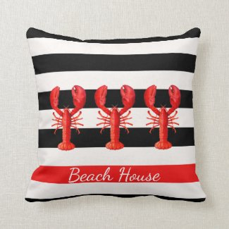 Black and white nautical stripes and red lobsters
