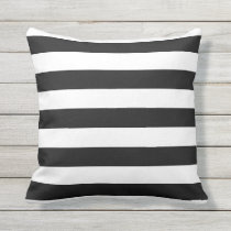 Black and White Nautical Stripes Outdoor Pillows