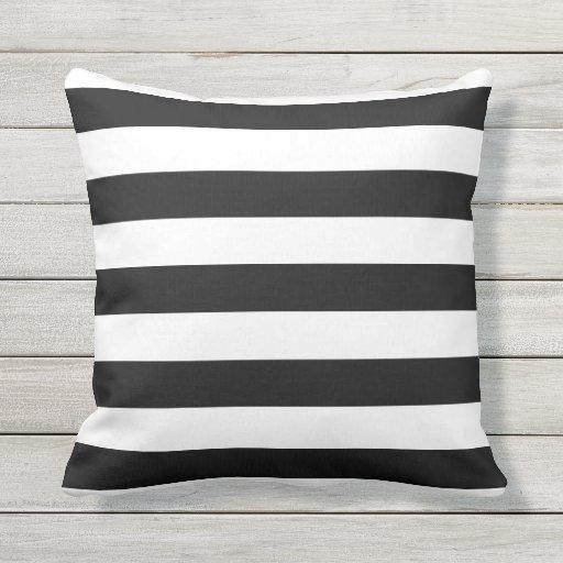 Black and White Nautical Stripes Outdoor Pillows
