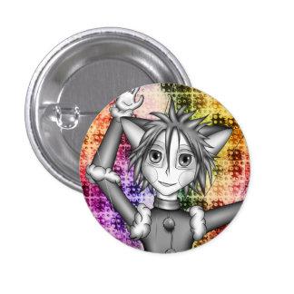 Black And White Neko Puppet 1 Inch Round Button