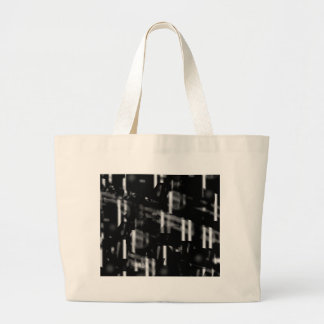 Black and white neon city large tote bag