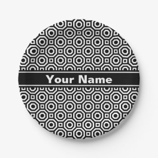 Black and White Nested Octagon Paper Plate 7 Inch Paper Plate