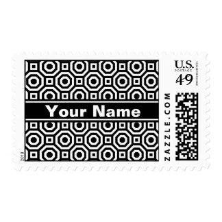 Black and White Nested Octagon Postage