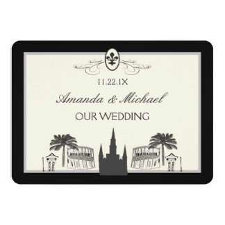 Black and White New Orleans Scenes Save the Date 5x7 Paper Invitation Card