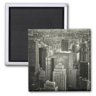 Black and White New York City Skyline 2 Inch Square Magnet