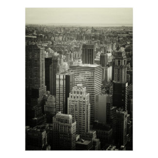 Black and White New York City Skyline, All Sizes Poster