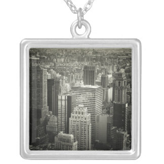 Black and White New York City Skyline Square Pendant Necklace