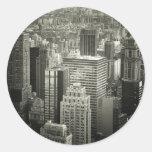 Black and White New York City Skyline Round Sticker
