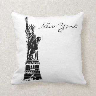 Black and White New York Landmark Throw Pillow