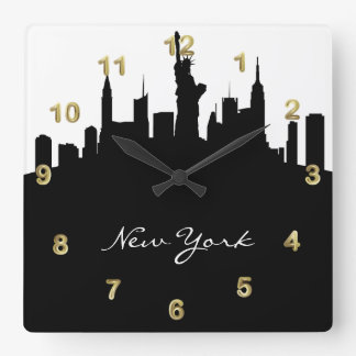 Black and White New York Skyline Wall Clock
