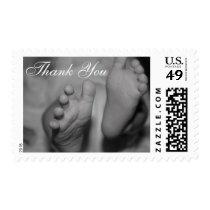 Black and White Newborn Feet Thank You Photo Stamp