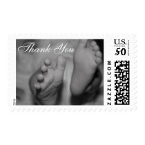 Black and White Newborn Feet Thank You Photo Stamp