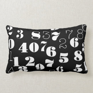Black and white numbers pattern lumbar pillow