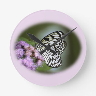 Black and White Nymph Butterfly Round Clock