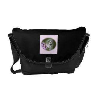 Black and White Nymph Butterfly Courier Bag