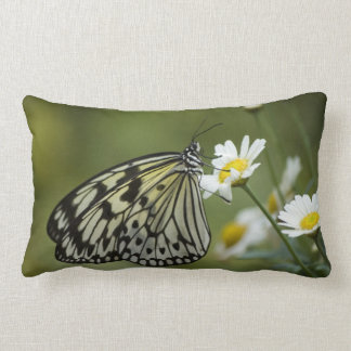 Black and White Nymph Butterfly Lumbar Pillow