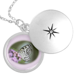 Black and White Nymph Butterfly Round Locket Necklace