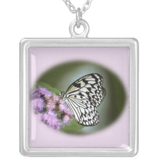 Black and White Nymph Butterfly Square Pendant Necklace
