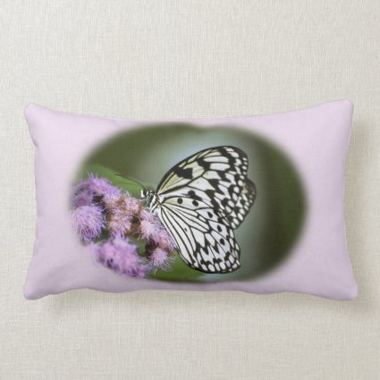 Black and White Nymph Butterfly Throw Pillow