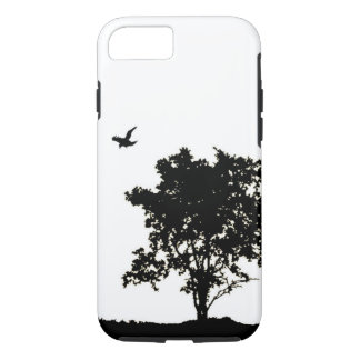 Black and White Oak tree with Crow iPhone 7 case