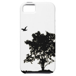 Black and White Oak tree with Crow Iphone Case iPhone 5 Cover