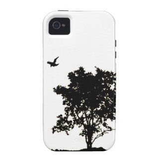 Black and White Oak tree with Crow Iphone Case iPhone 4/4S Cover