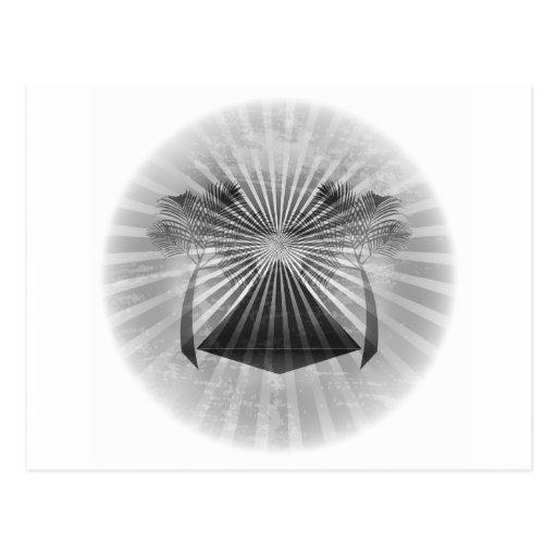 Black and White Oasis Scene (Oval) Postcard