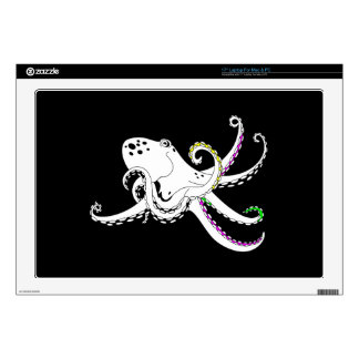 """Black and White Octopus Bright Colorful Tentacles 17"""" Laptop Skins"""