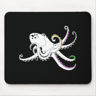 Black and White Octopus Bright Colorful Tentacles Mouse Pad