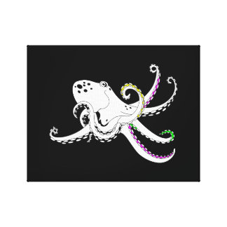 Black and White Octopus Cool Colorful Tentacles Canvas Print