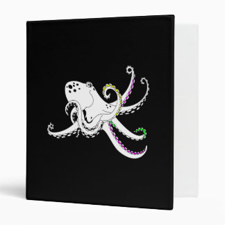 Black and White Octopus Funny Colorful Tentacles Binder