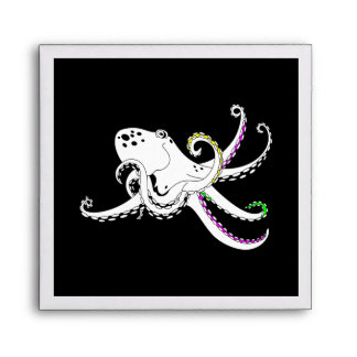 Black and White Octopus Funny Colorful Tentacles Envelope