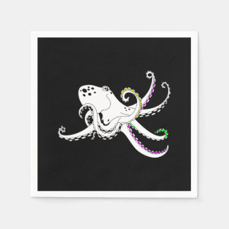 Black and White Octopus Funny Colorful Tentacles Napkin