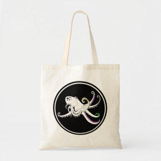 Black and White Octopus Funny Colorful Tentacles Tote Bag