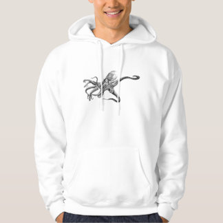 Black and White Octopus Illustration Hooded Pullovers