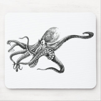 Black and White Octopus Illustration Mouse Pad