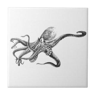 Black and White Octopus Illustration Tile