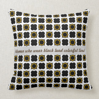 Black and White Ogee Pattern, Tough of Gold Throw Pillow