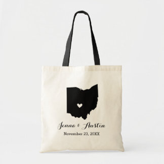 Black and White Ohio Wedding Welcome Tote Bag