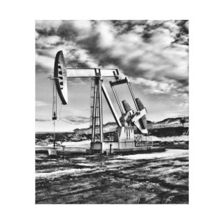 Black and White Oil Well Pumping (Pumpjack) Unit Canvas Print