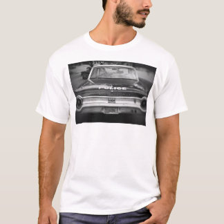 Black And White Old Police Car - White T-shirt